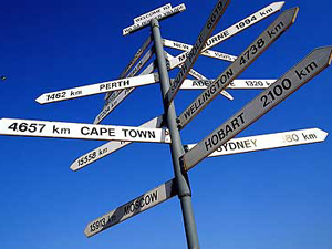 Signposts pointing in all different directions