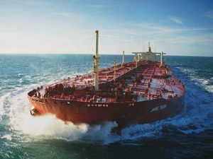 Supertanker under way
