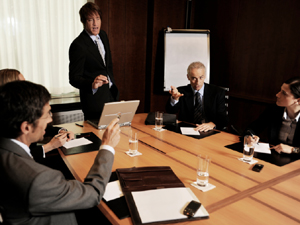 Tense discussion in a boardroom