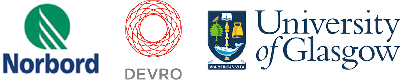 Nobord and Devro and Glasgow University logos